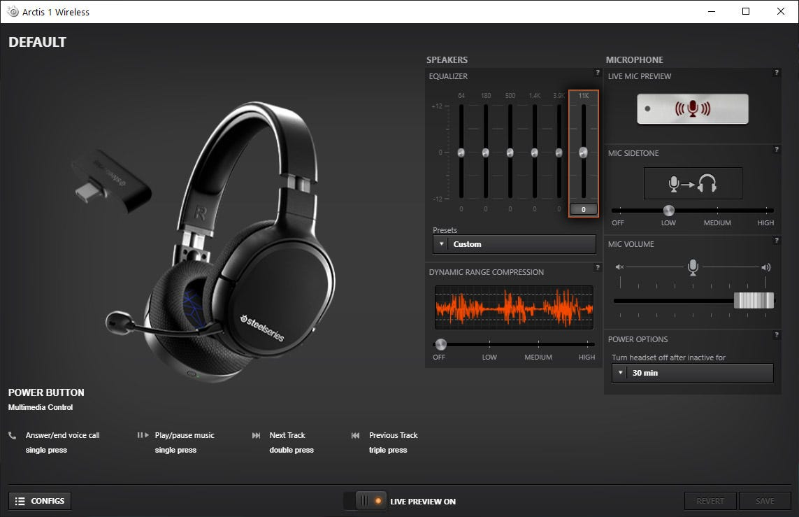 The SteelSeries Arctis 1 Wireless Headset software menu.