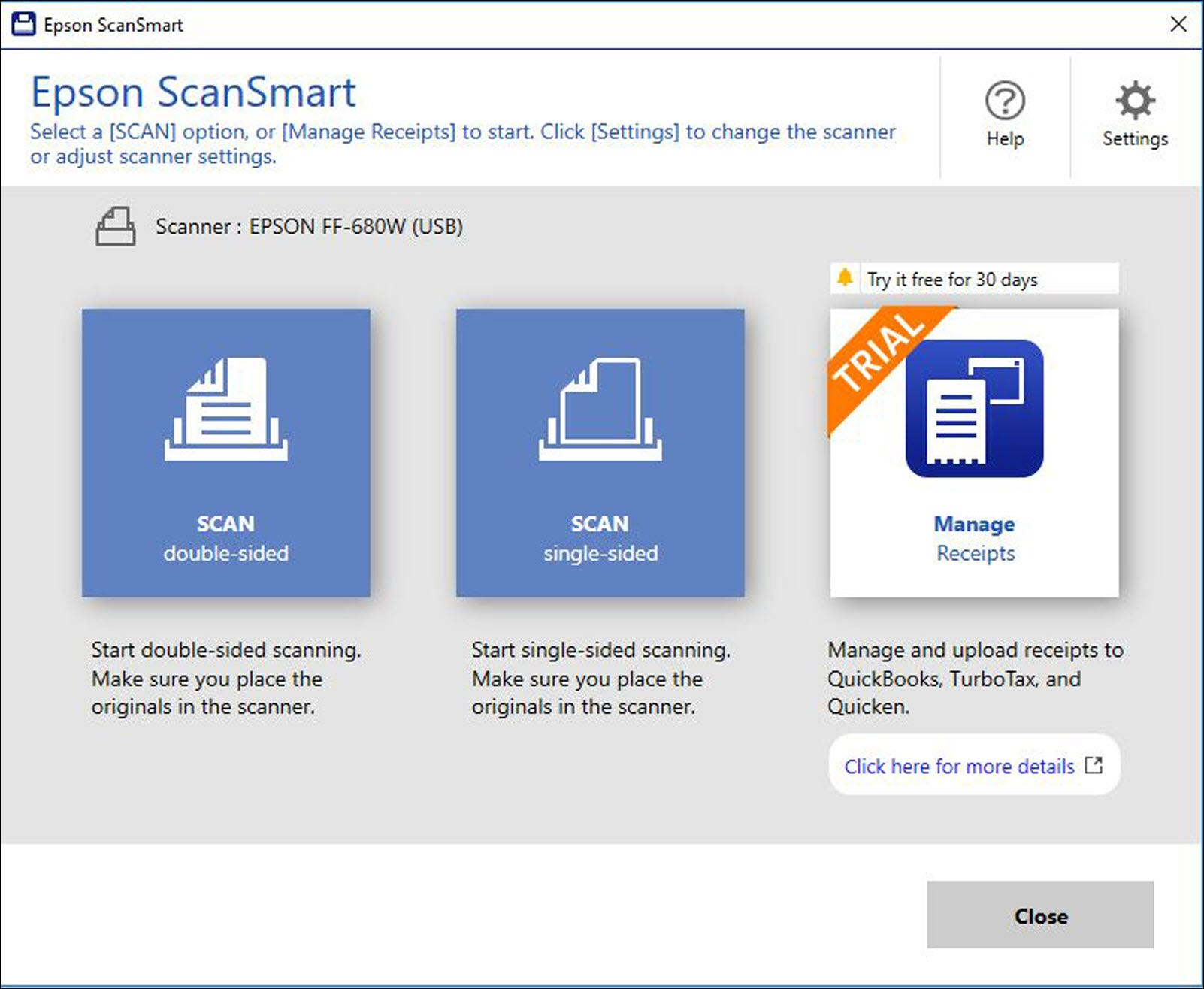 The main menu in the Espon ScanSmart software.