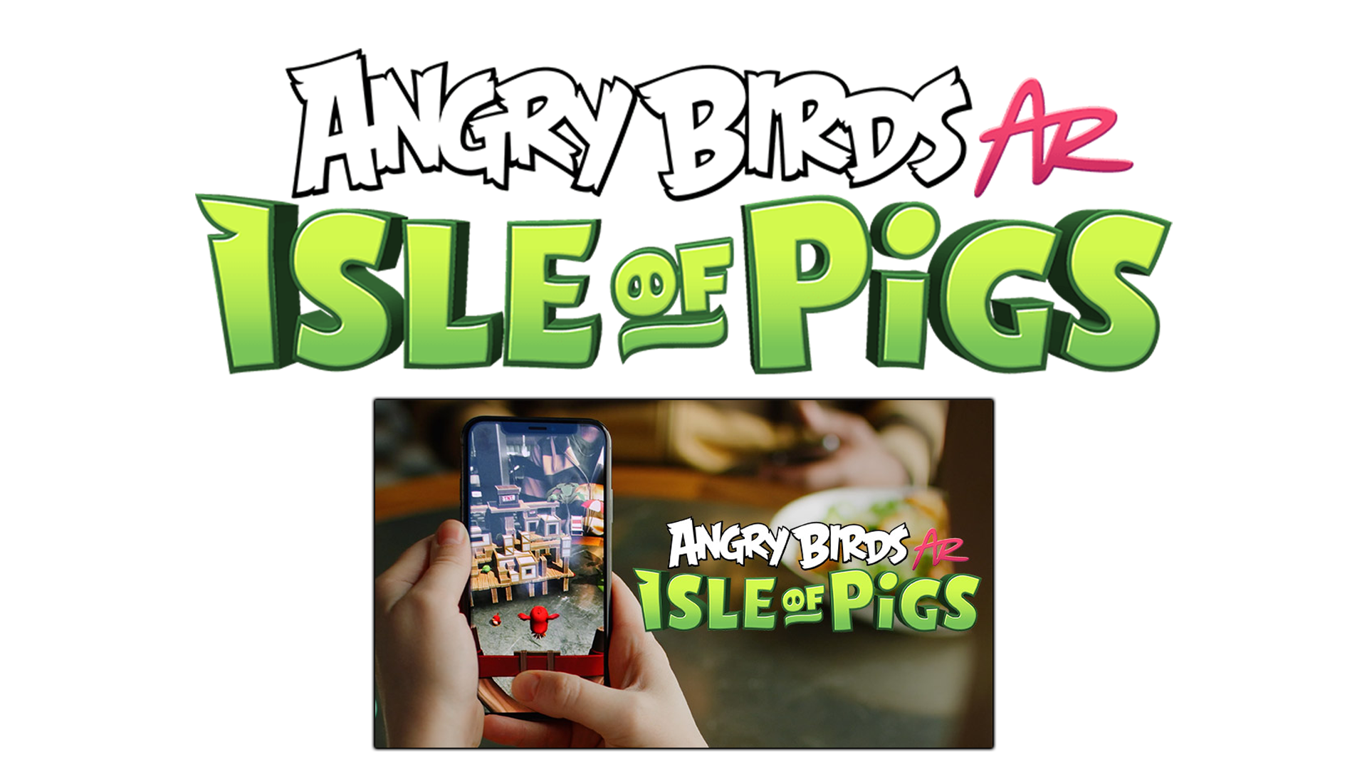 The Angry Birds AR logo with a screenshot of the Angry Birds AR game.