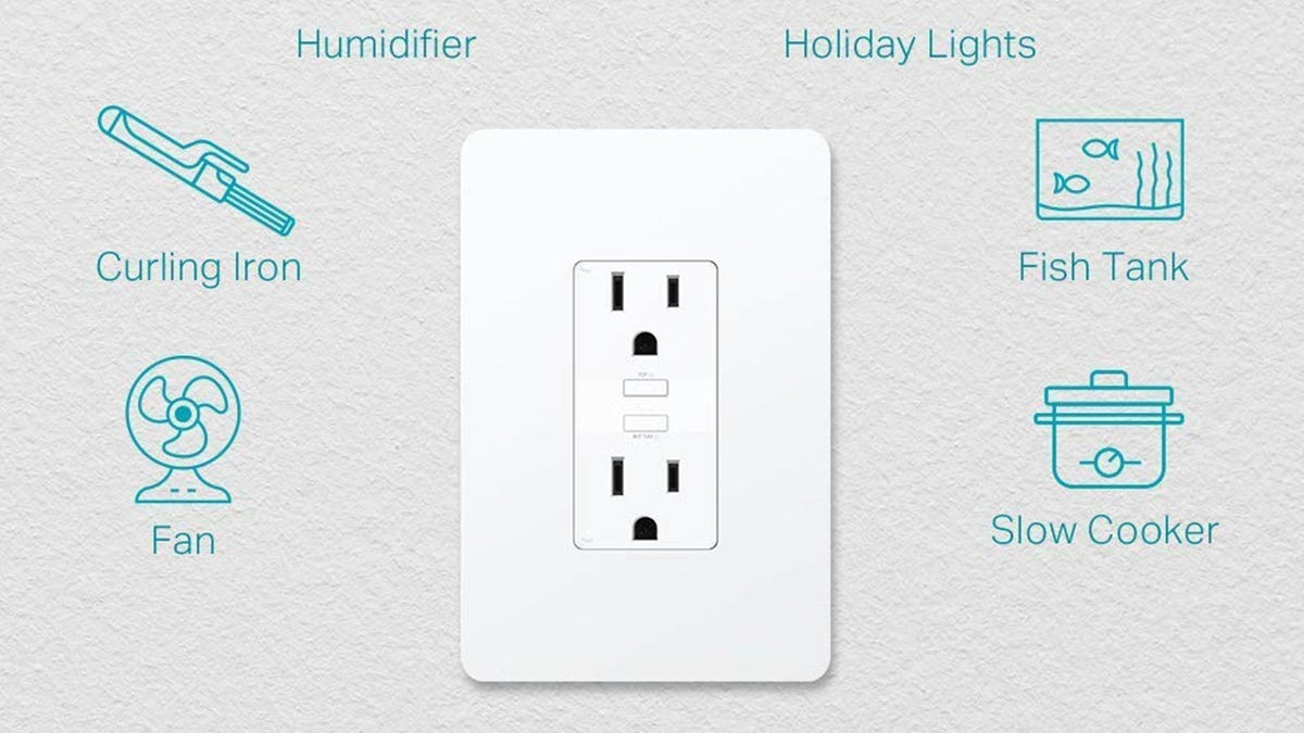 A TP-Link smart plug with various suggestions for items it can control like fans and slow cookers.
