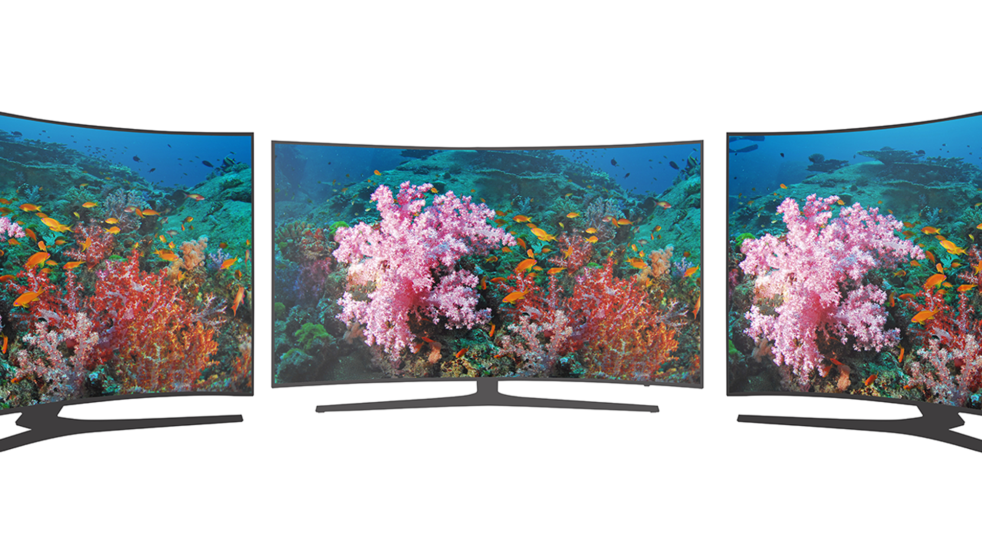 A curved TV from three different angles.