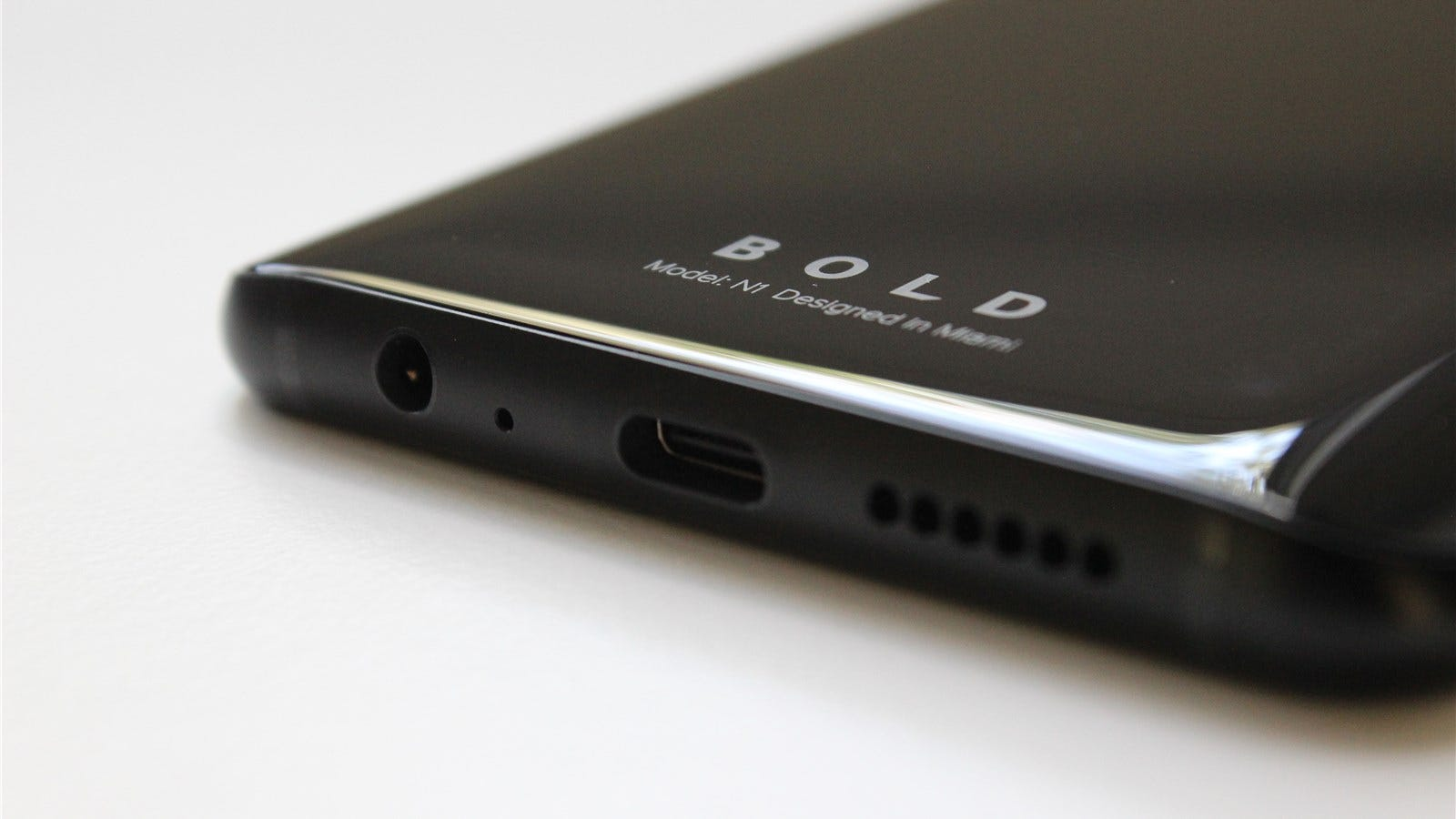 The BOLD N1's headphone jack and USB-C Port