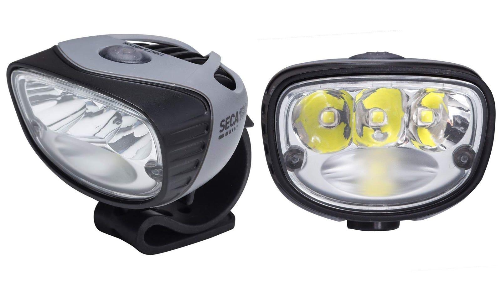 Two Light & Motion Seca 1800 bike lights.