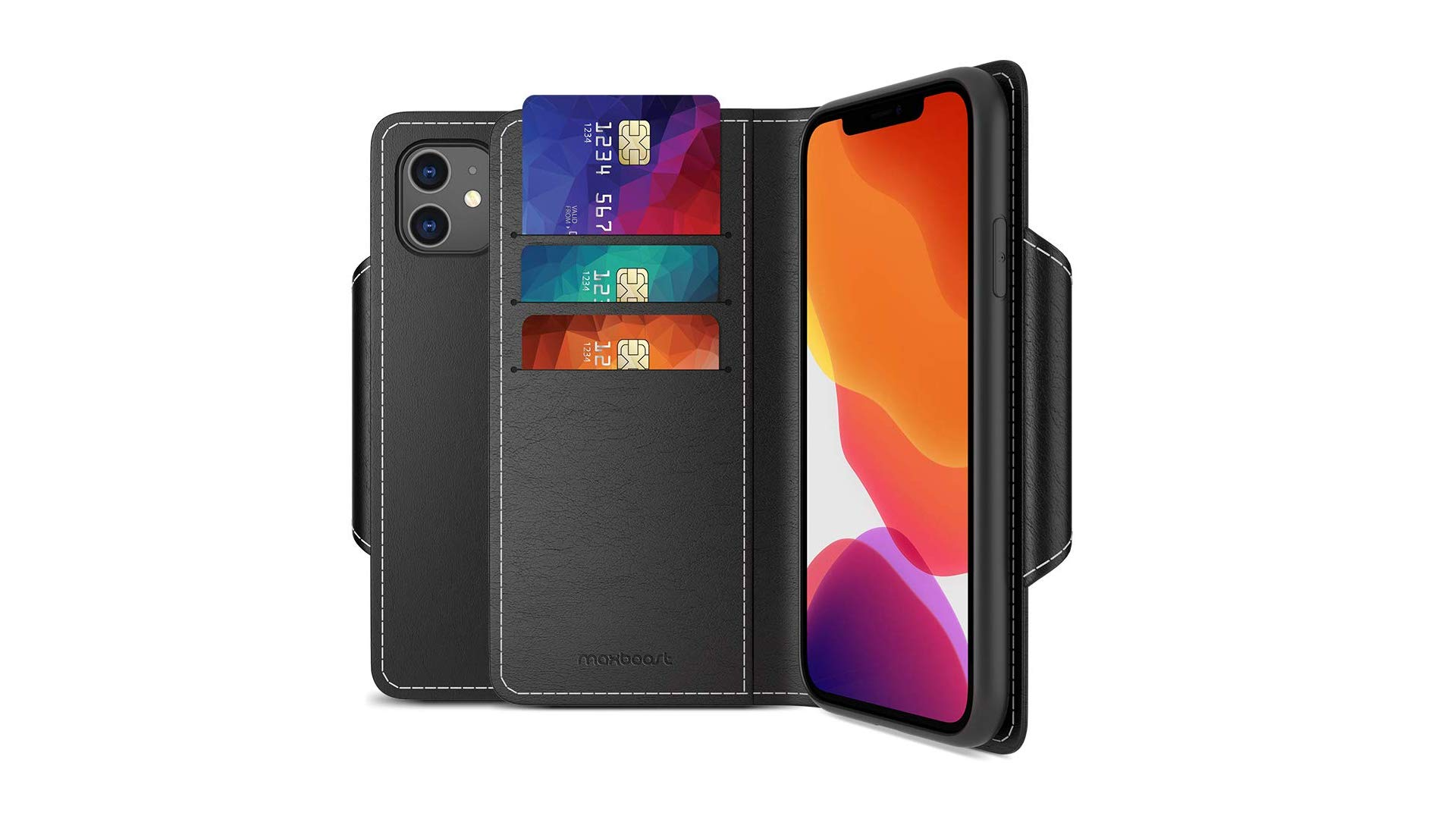 The MaxBoost wallet case on an iPhone 11