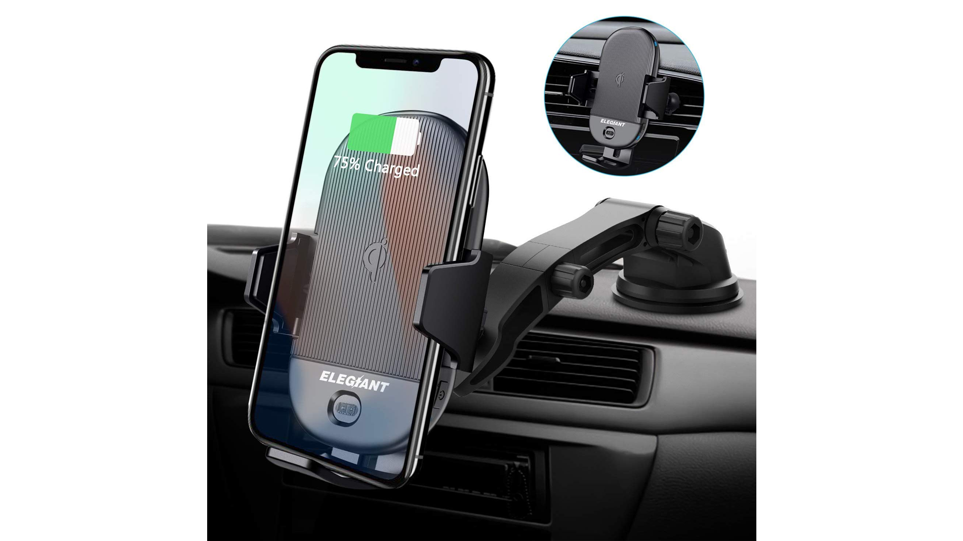 The ELEGIANT wireless charging car mount.