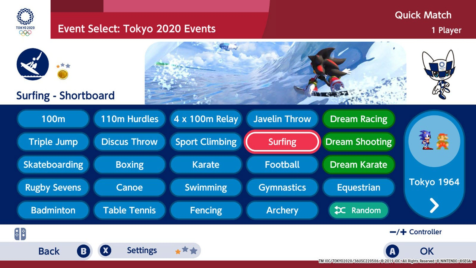 The event selection menu screen, listing everything from boxing to archery.