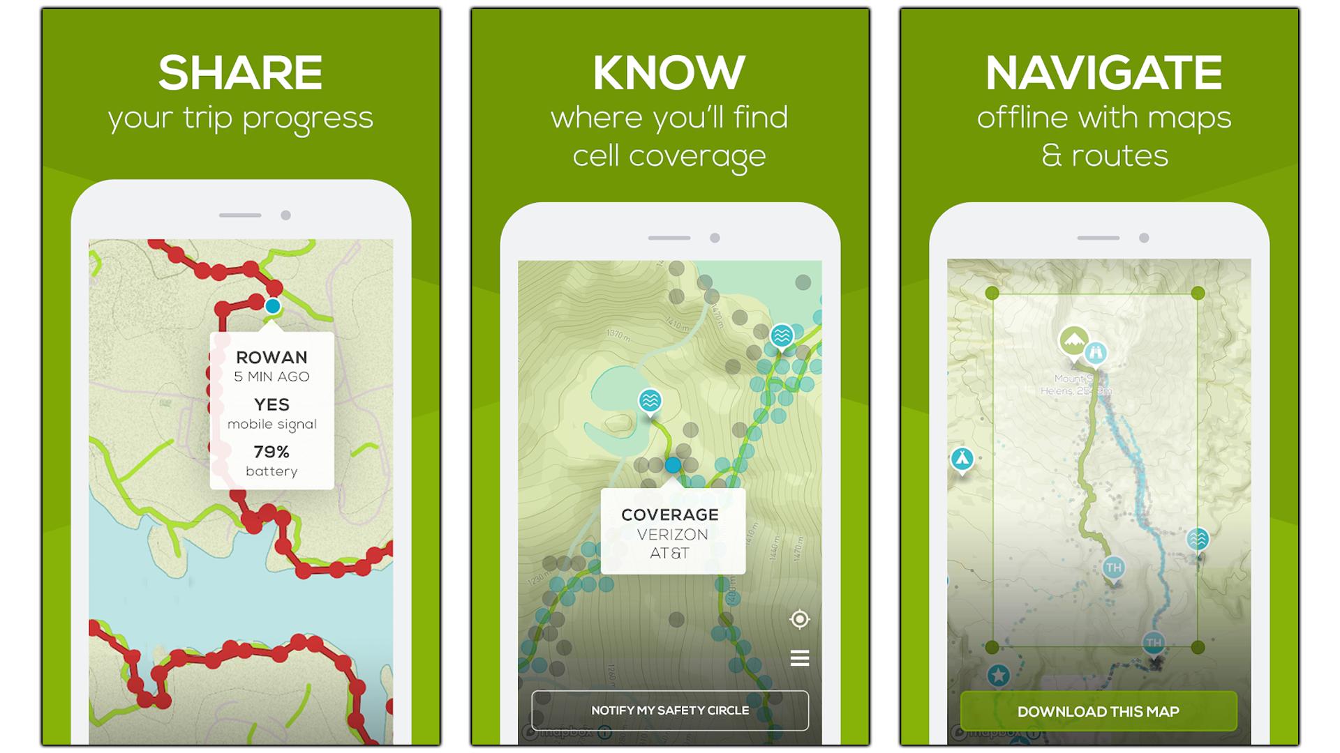 Screenshots of the Cairn app.