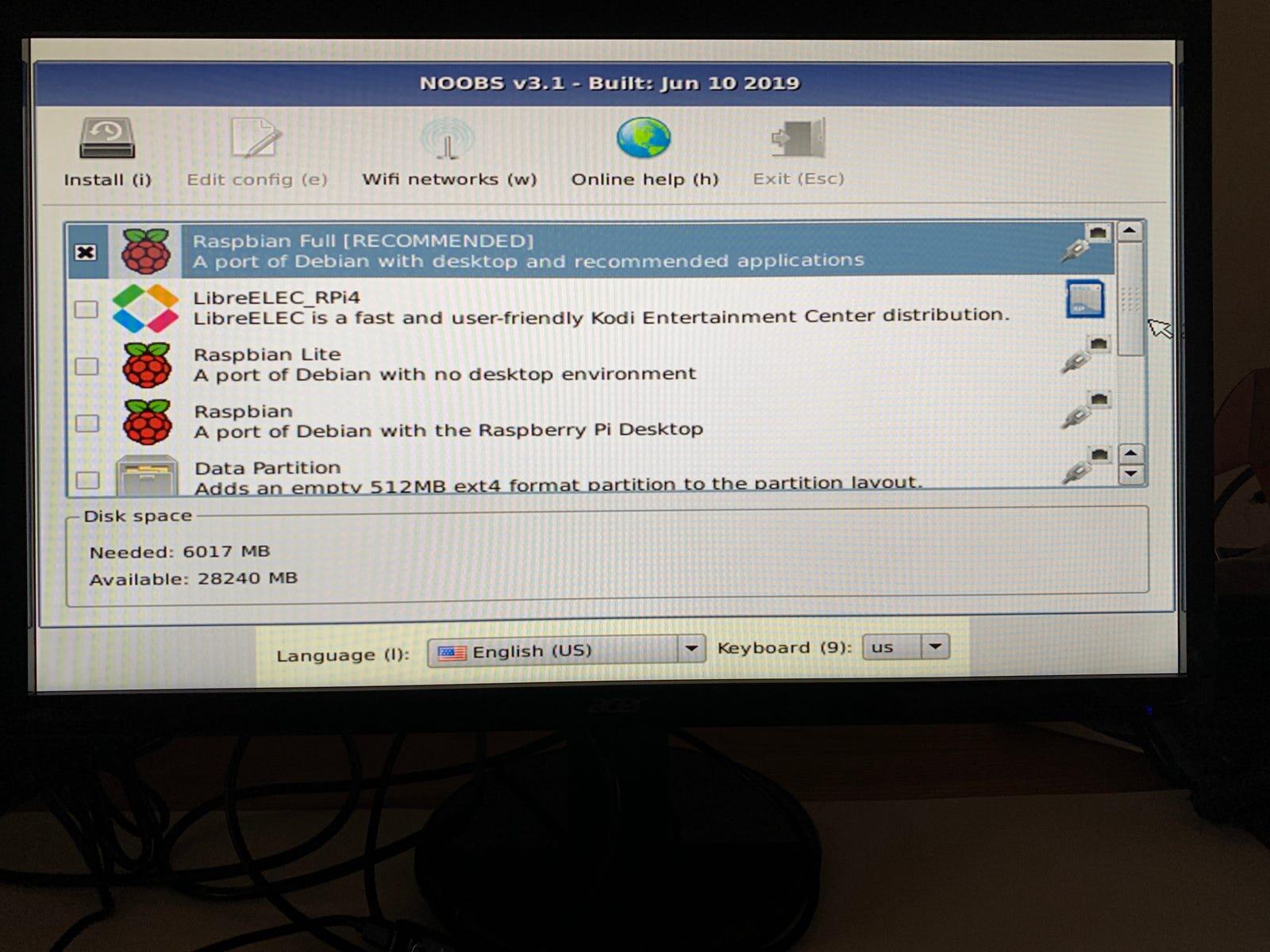 The NOOBS v3.1 installation menu on Raspberry Pi.