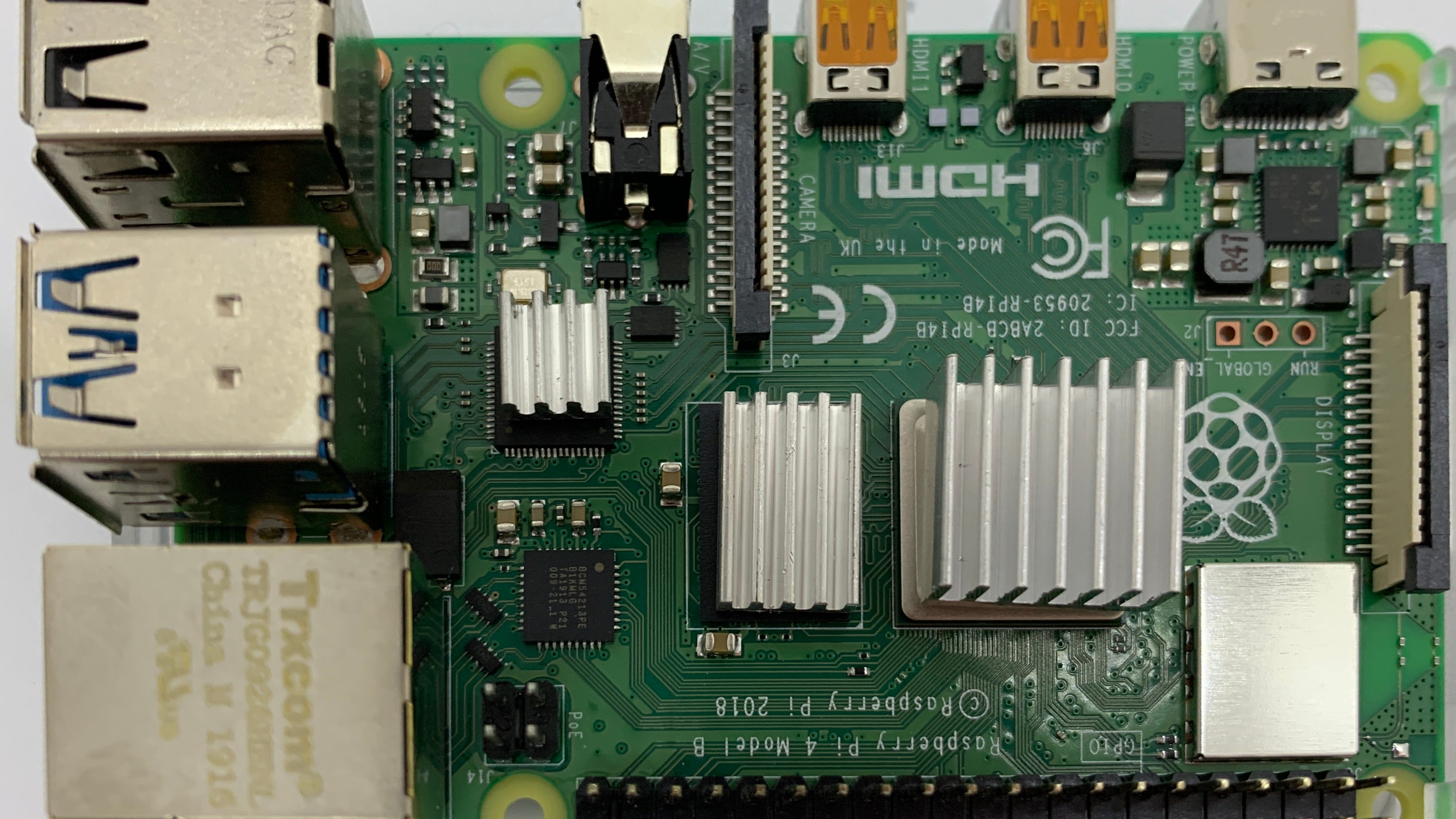 The Raspberry Pi board with the heat sinks installed.