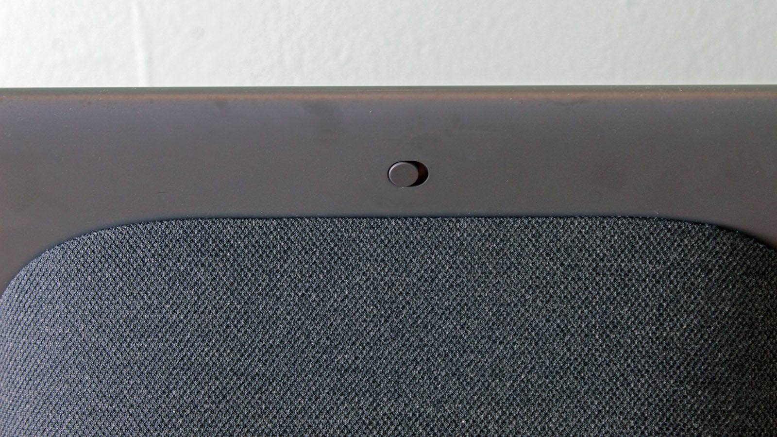 The back of the Nest Hub Max, featuring a slider switch.