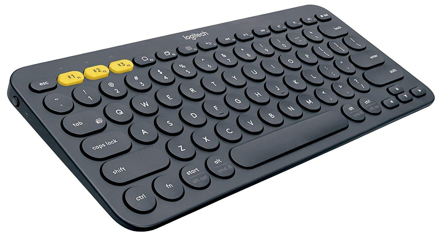 The Logitech K380 keyboard, from the front.