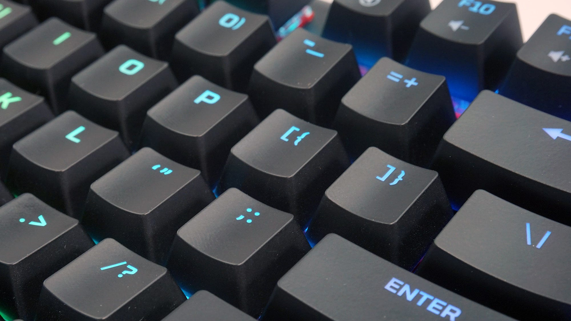 A close-up of the illuminated keycaps