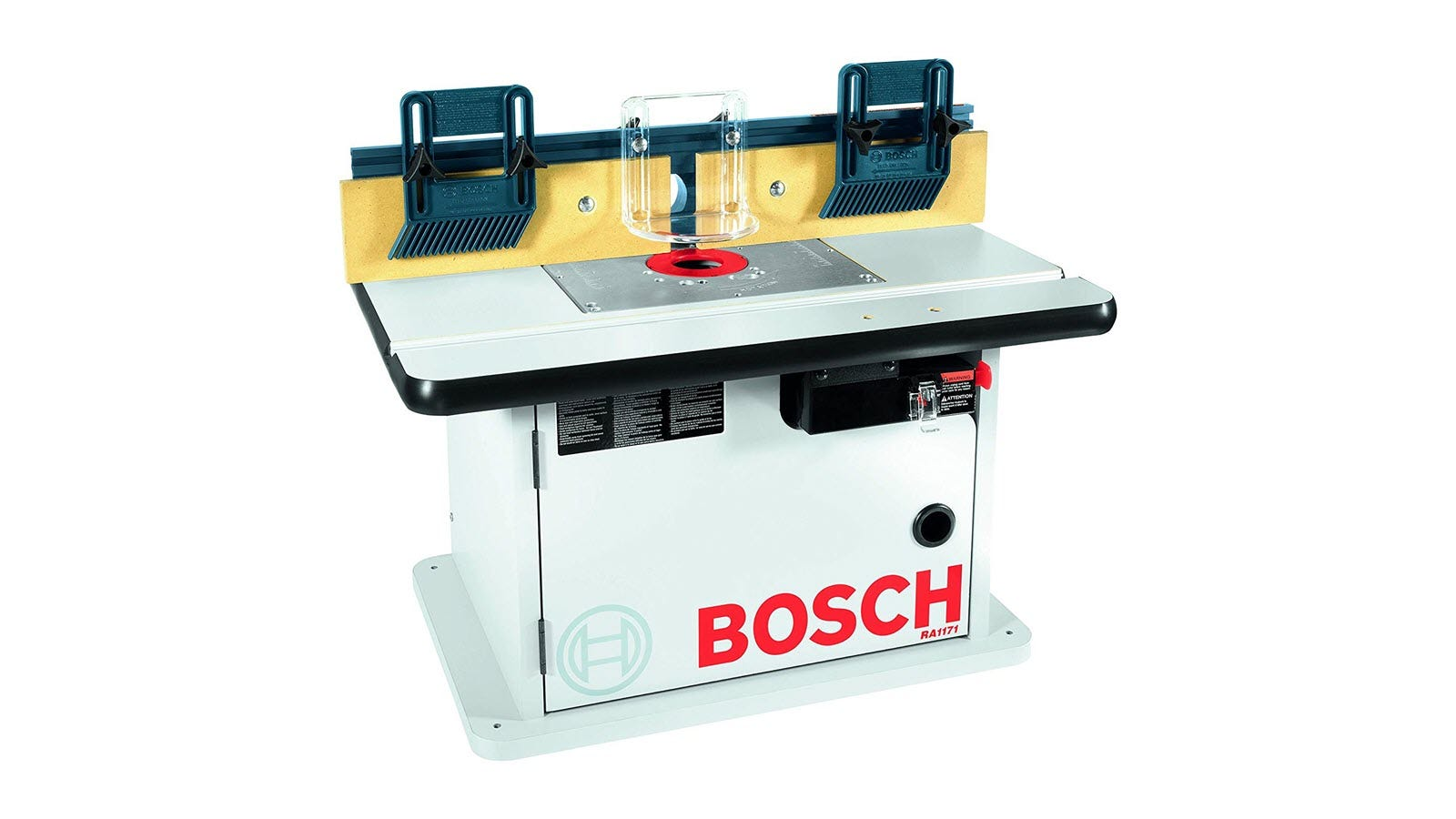 A Bosch cabinet style router table, with metal base plate.