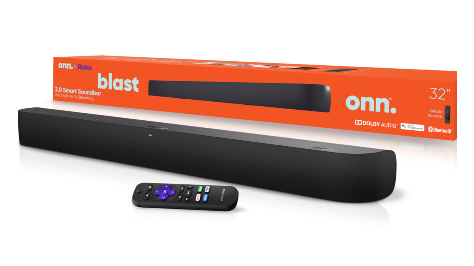 Onn Roku soundbar with retail packaging