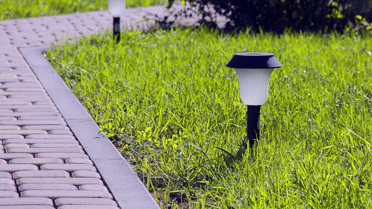 Two path lights along a brick walkway.