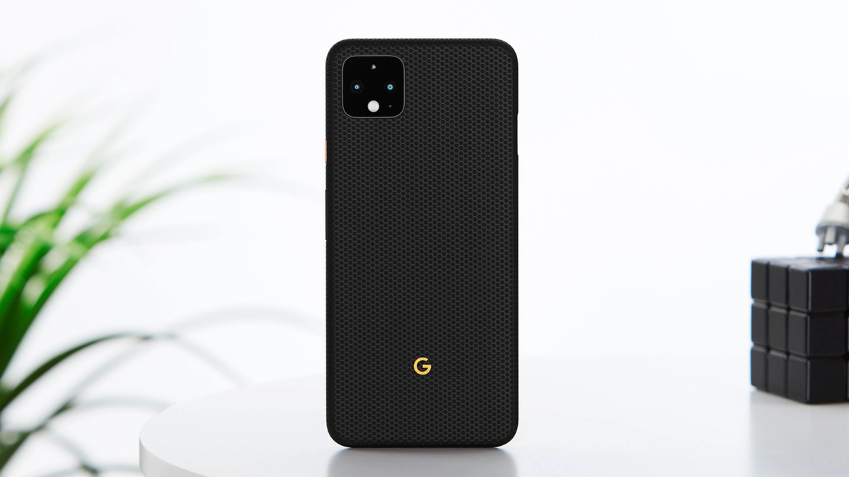 A photo of the Pixel 4 in one of dbrand's cases.