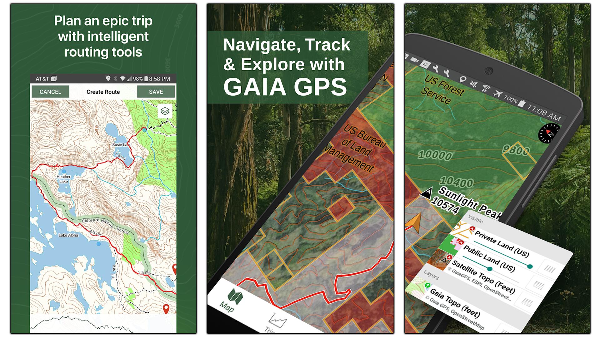 Screenshots of the Gaia GPS app.