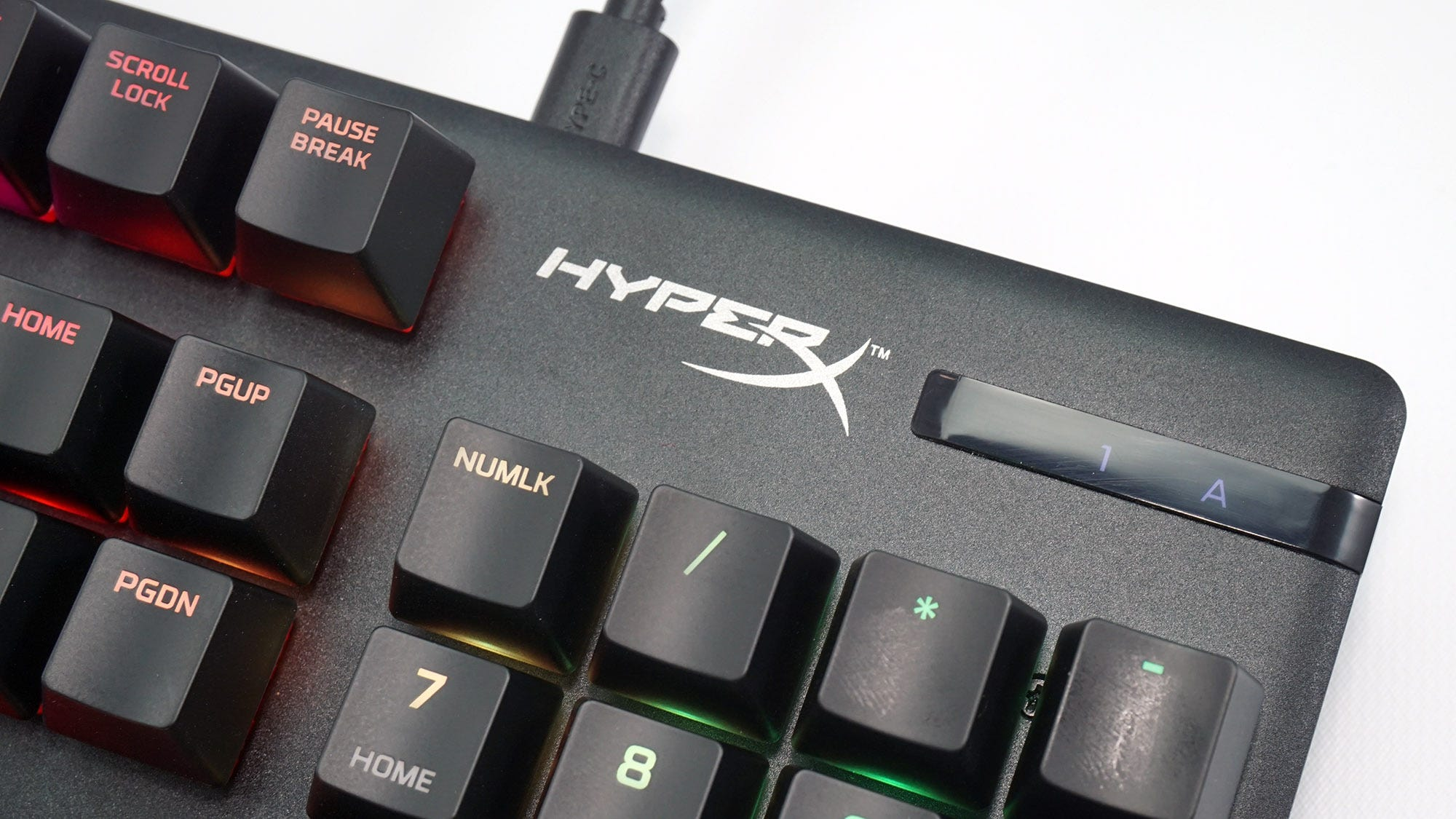A shot of the keyboard's top logo and status LEDs.