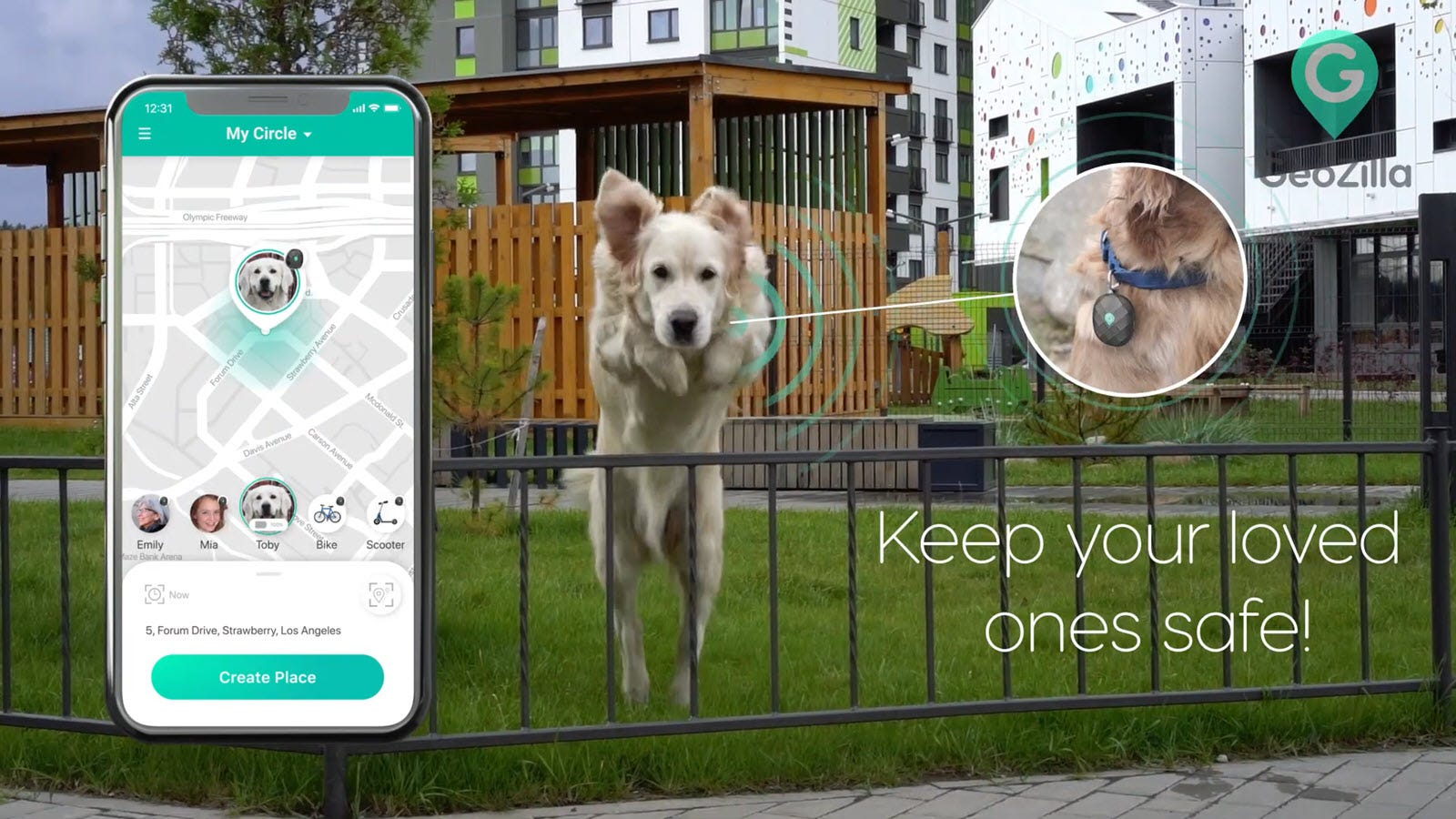 A dog hopping a fence while wearing a GPS tracker.