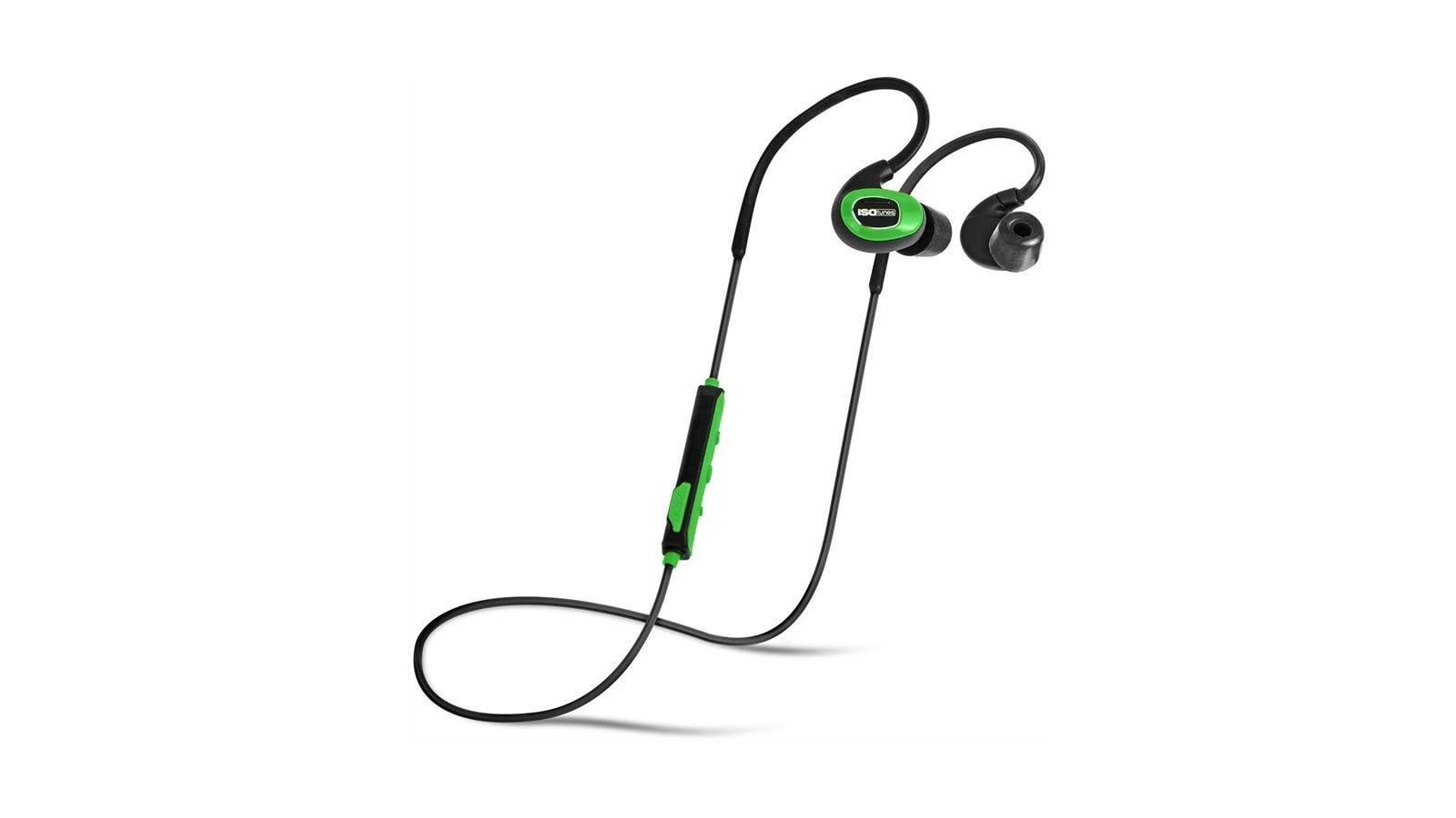 A pair of green ISOtunes headphones.