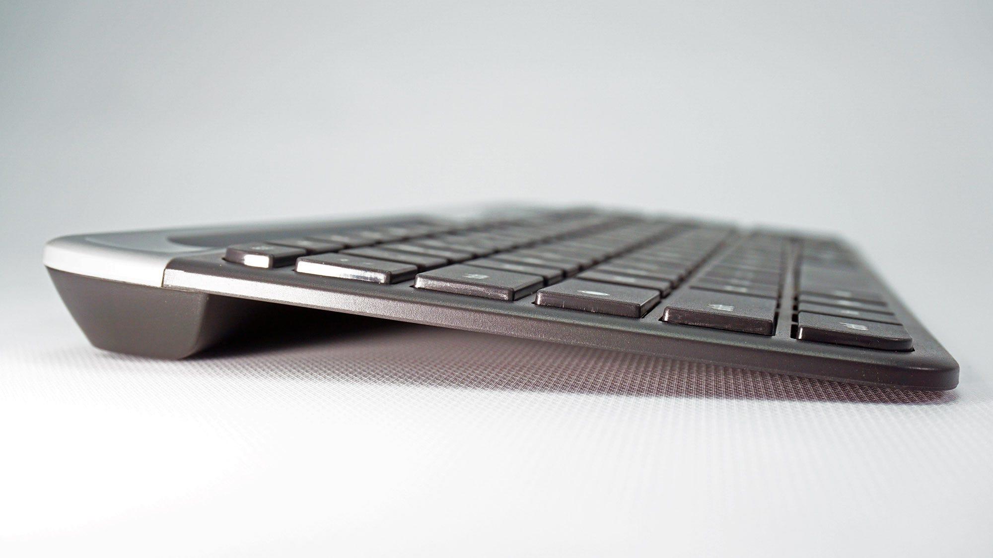 A side view of the Logitech K560 keyboard.