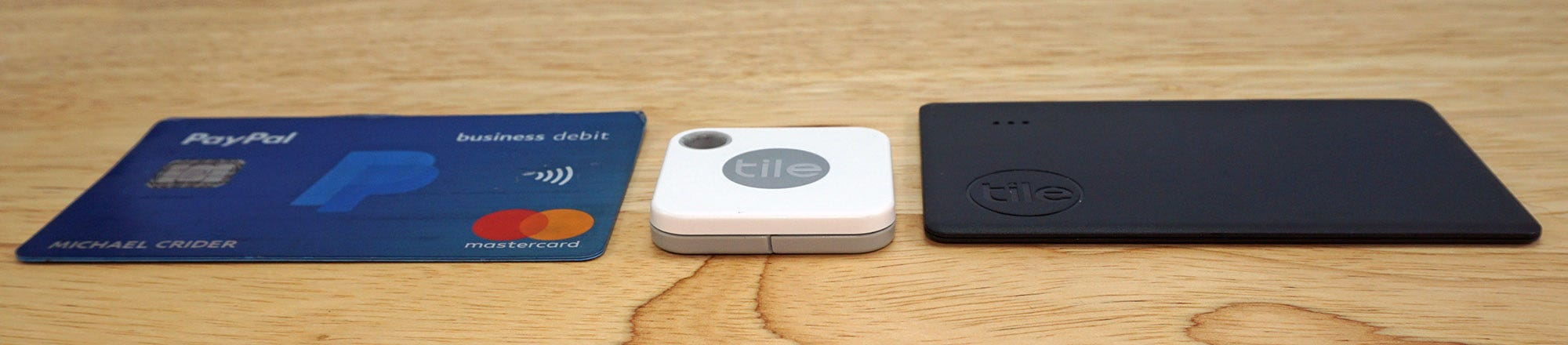 The Tile Slim, TIle Mate, and a credit card.