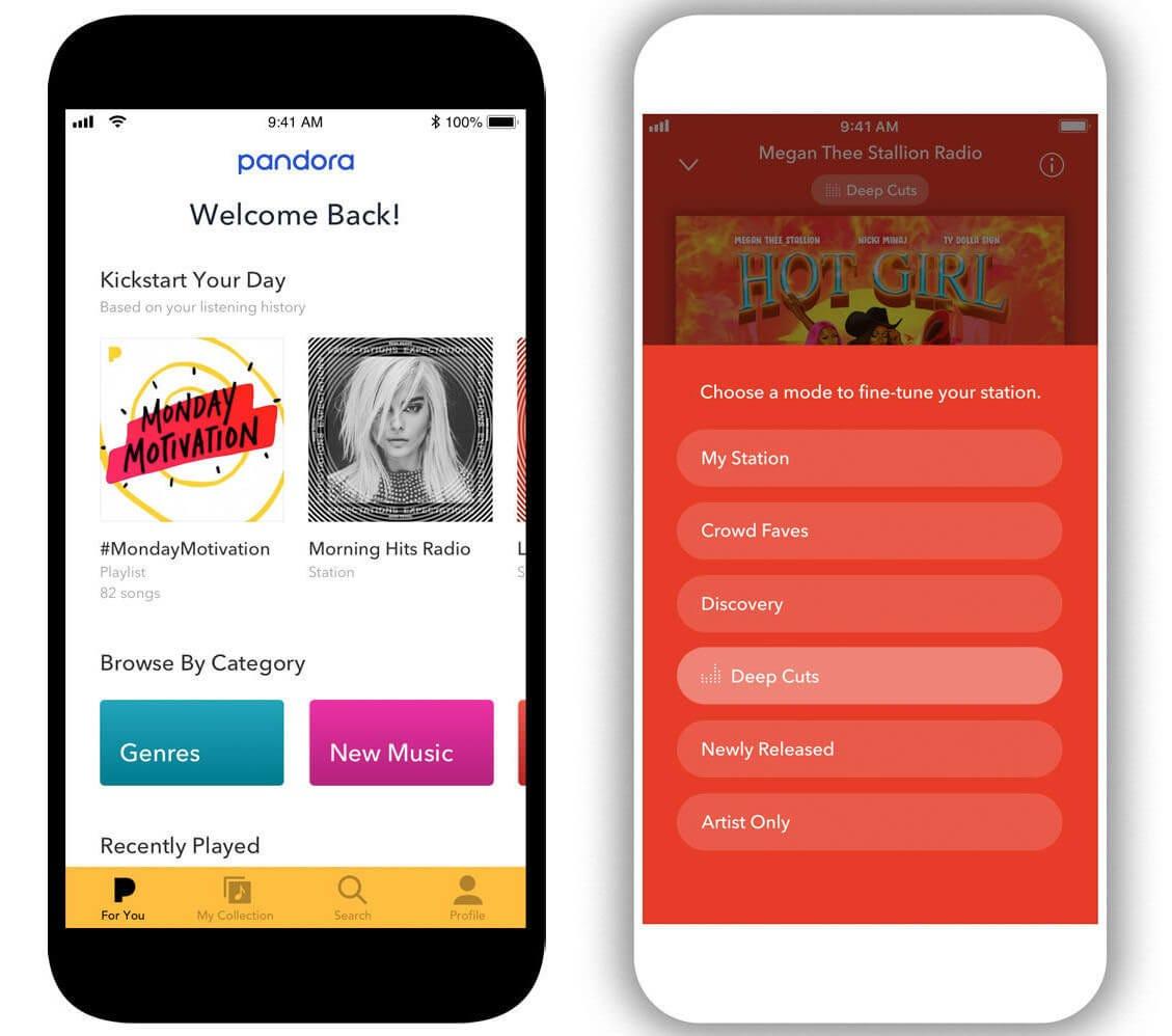 Pandora personalized menu