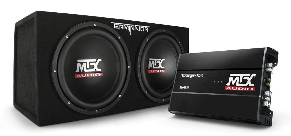 MTX Terminator subwoofer and TNA251 monoblock amplifier.