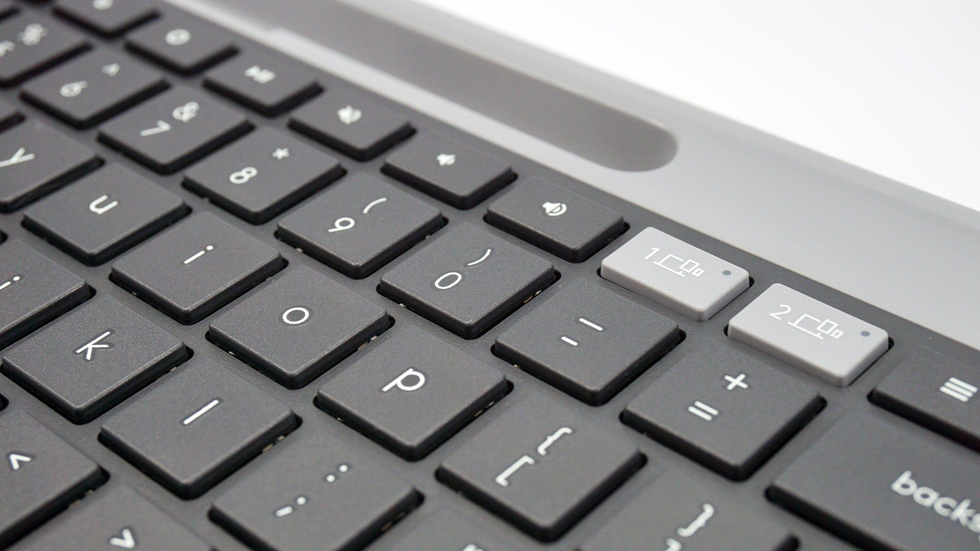A closeup of the keys on the Logitech K580 keyboard.