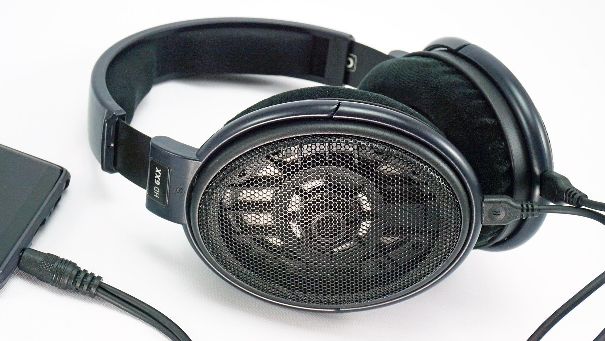 The Massdrop x Sennheiser HD 6XX plugged into a phone.