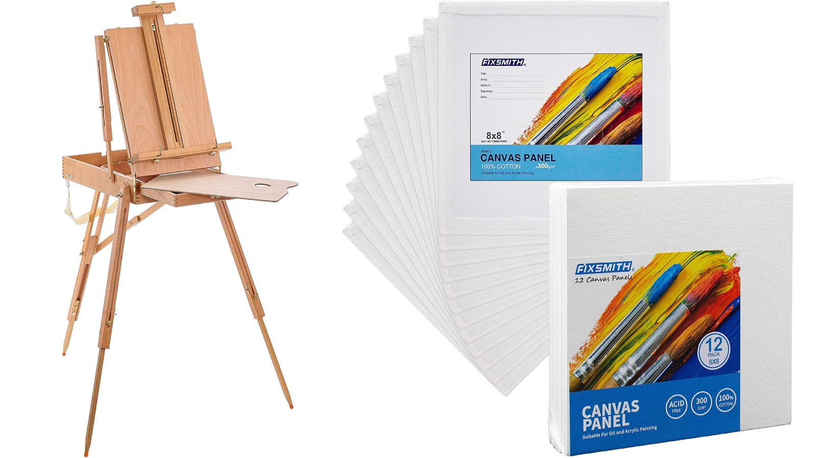 The U.S. Art Supply French-Style Easel and FIXSMITH 12-Pack of canvas panels.