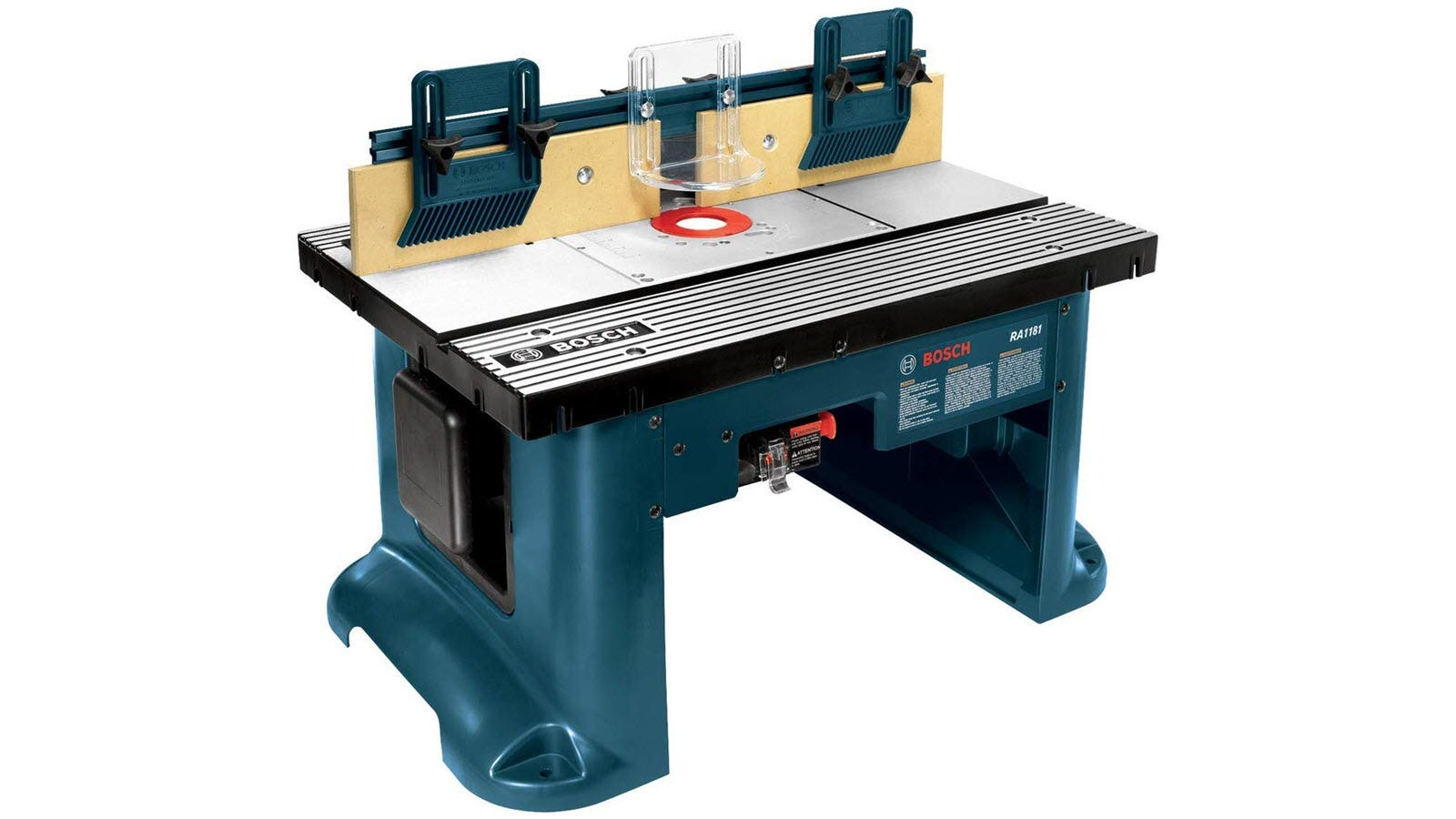 A blue Bosch router table with aluminum top.