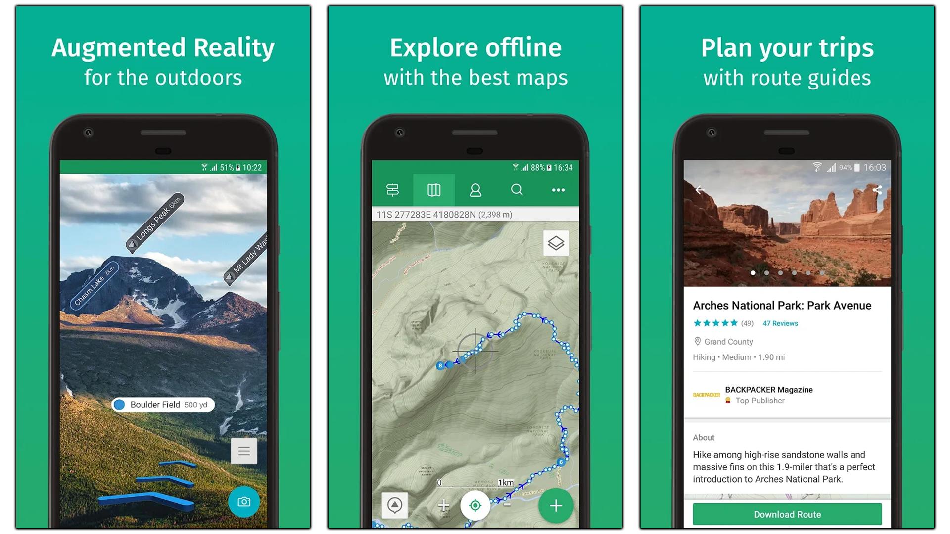 Screenshots of the ViewRanger app.