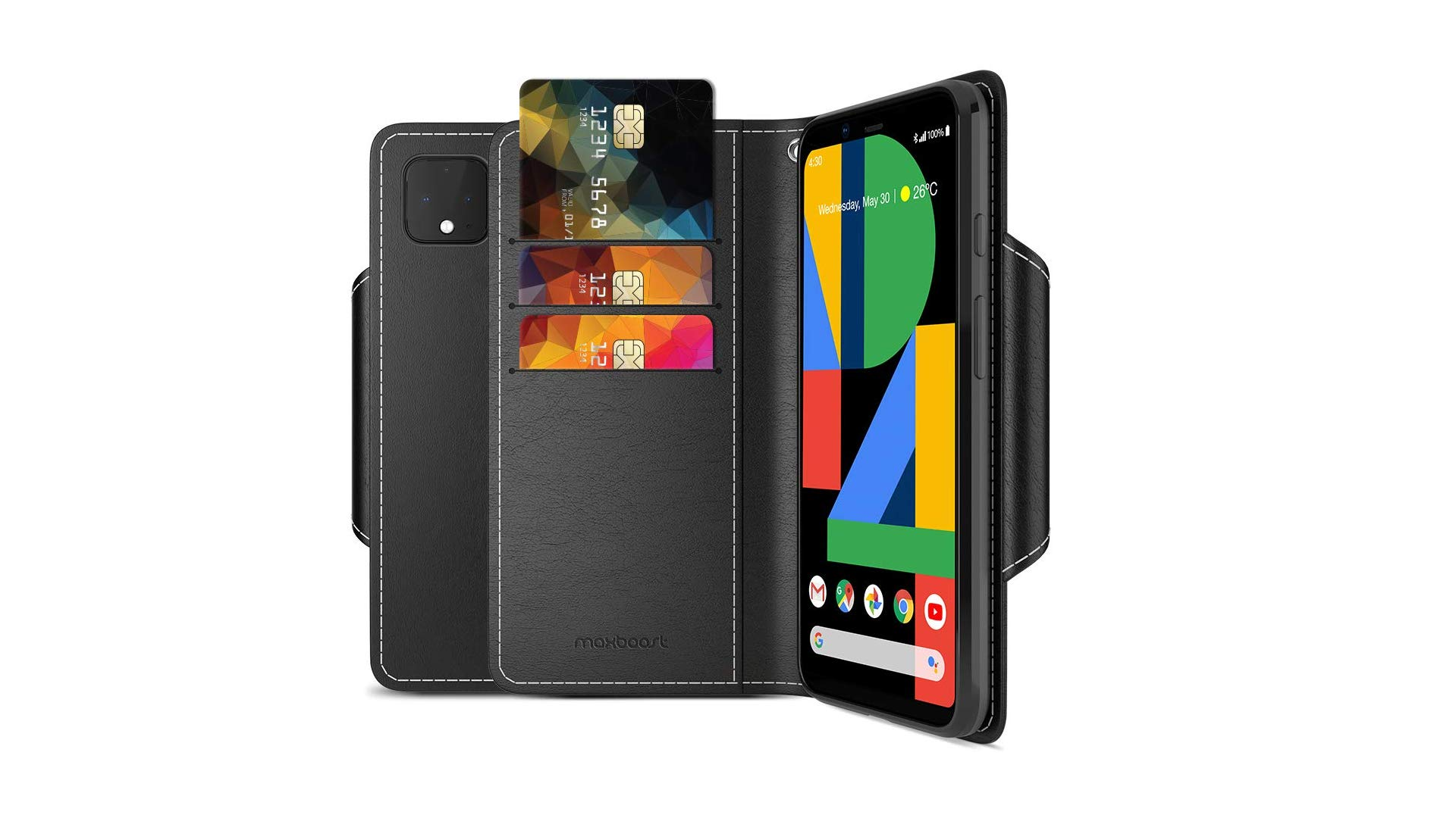 A Pixel 4 in a Maxboost wallet case.