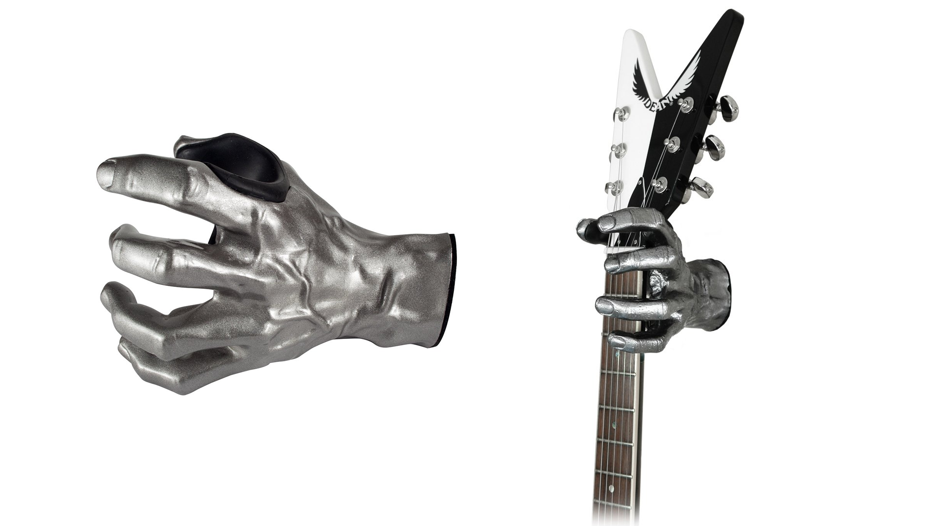 The Grip Studios silver hand guitar mount holding a guitar and looking cool