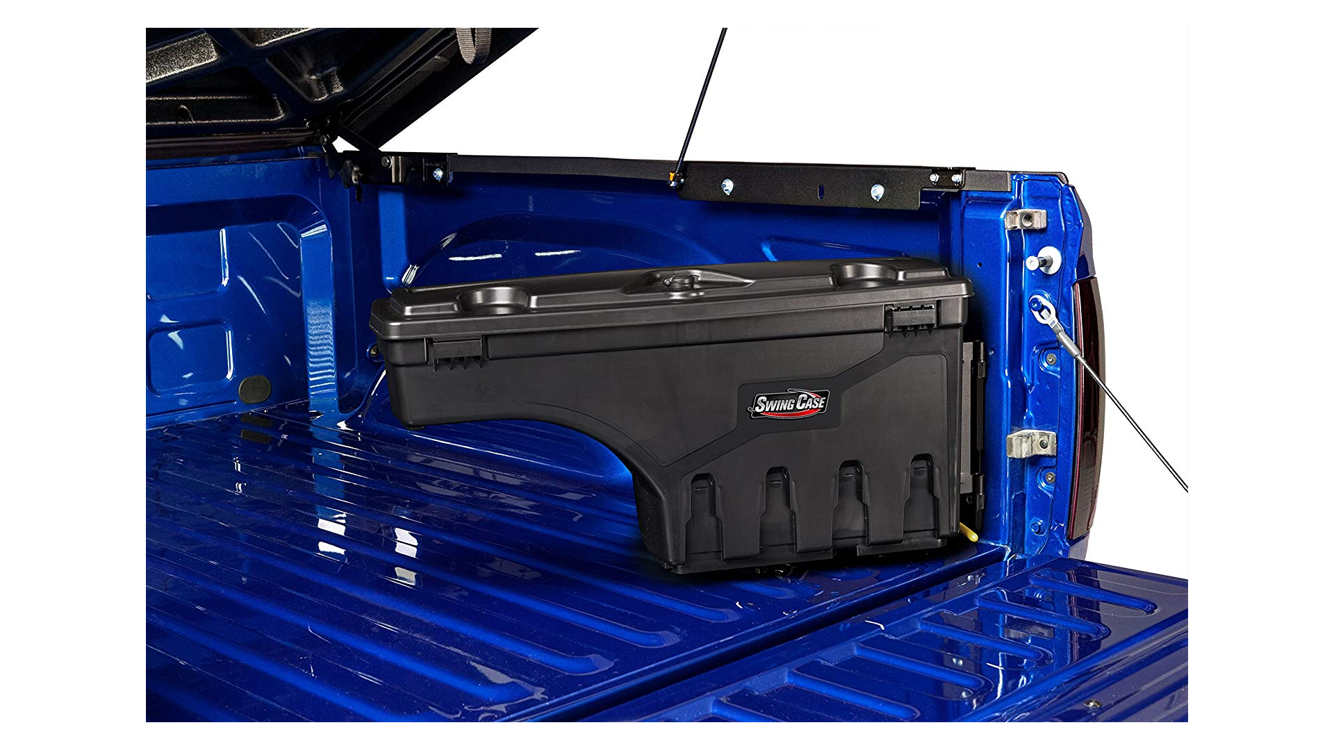 The UnderCover SwingCase Organizer in a truck bed.