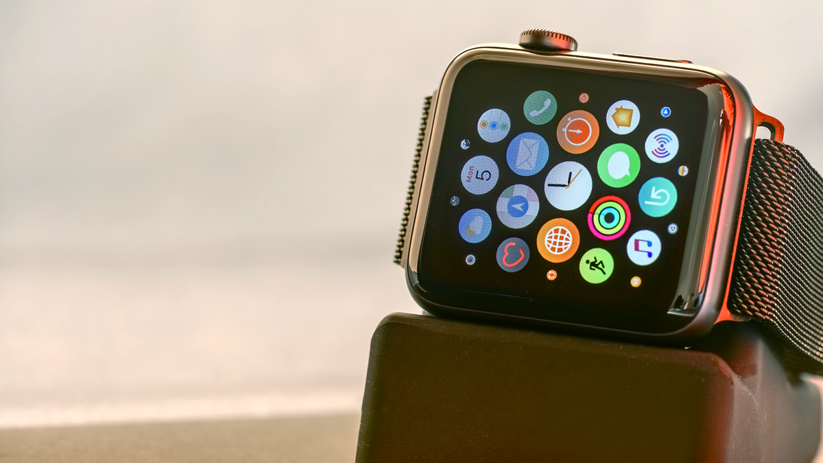 A photo of an Apple Watch on a charging stand.
