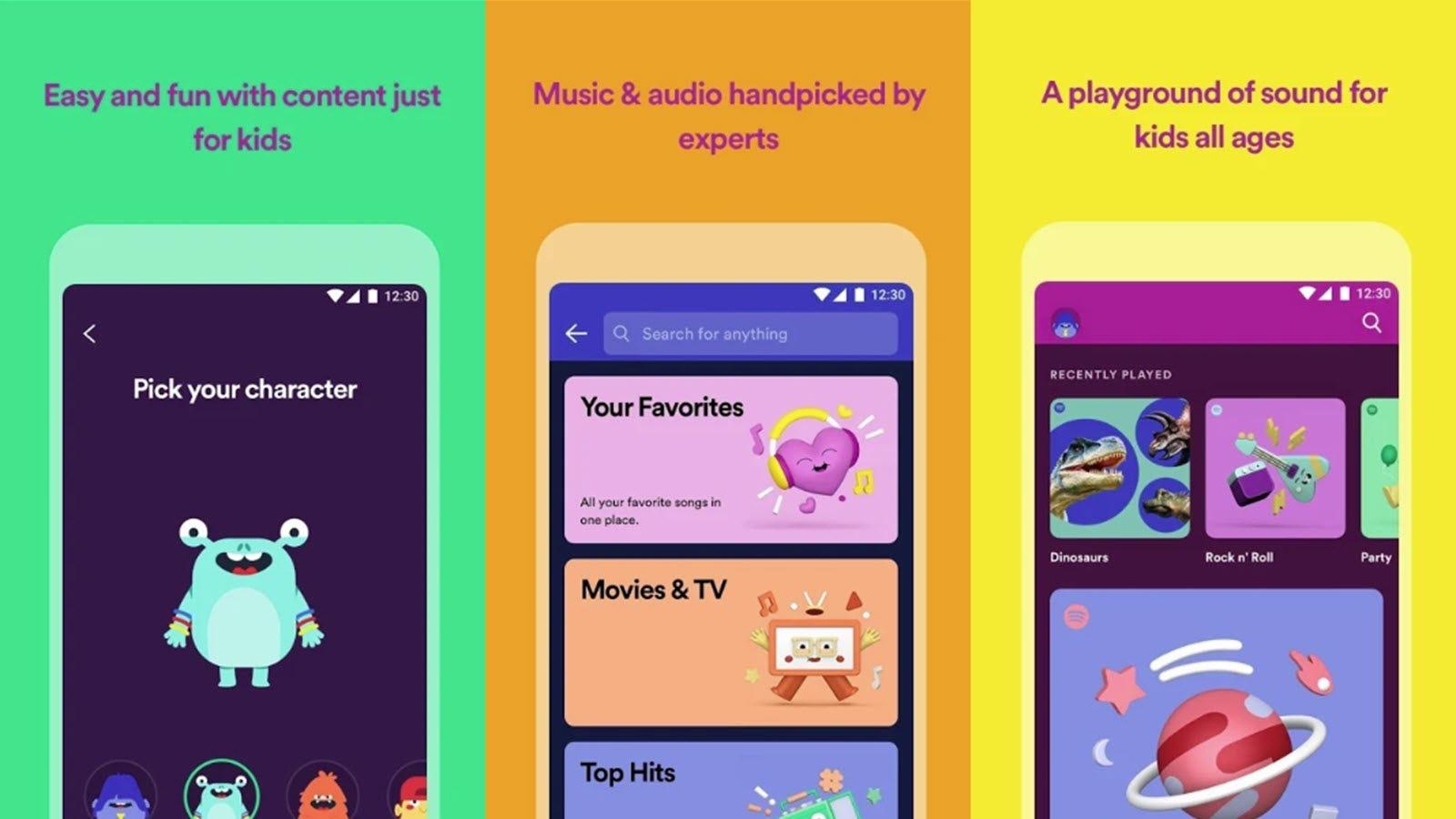 Spotify graphics showing kid-friendly avatars.