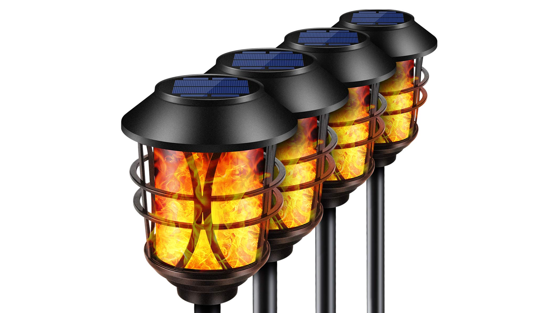 Four TomCare Solar-Powered Flickering Flame Torch Lights.