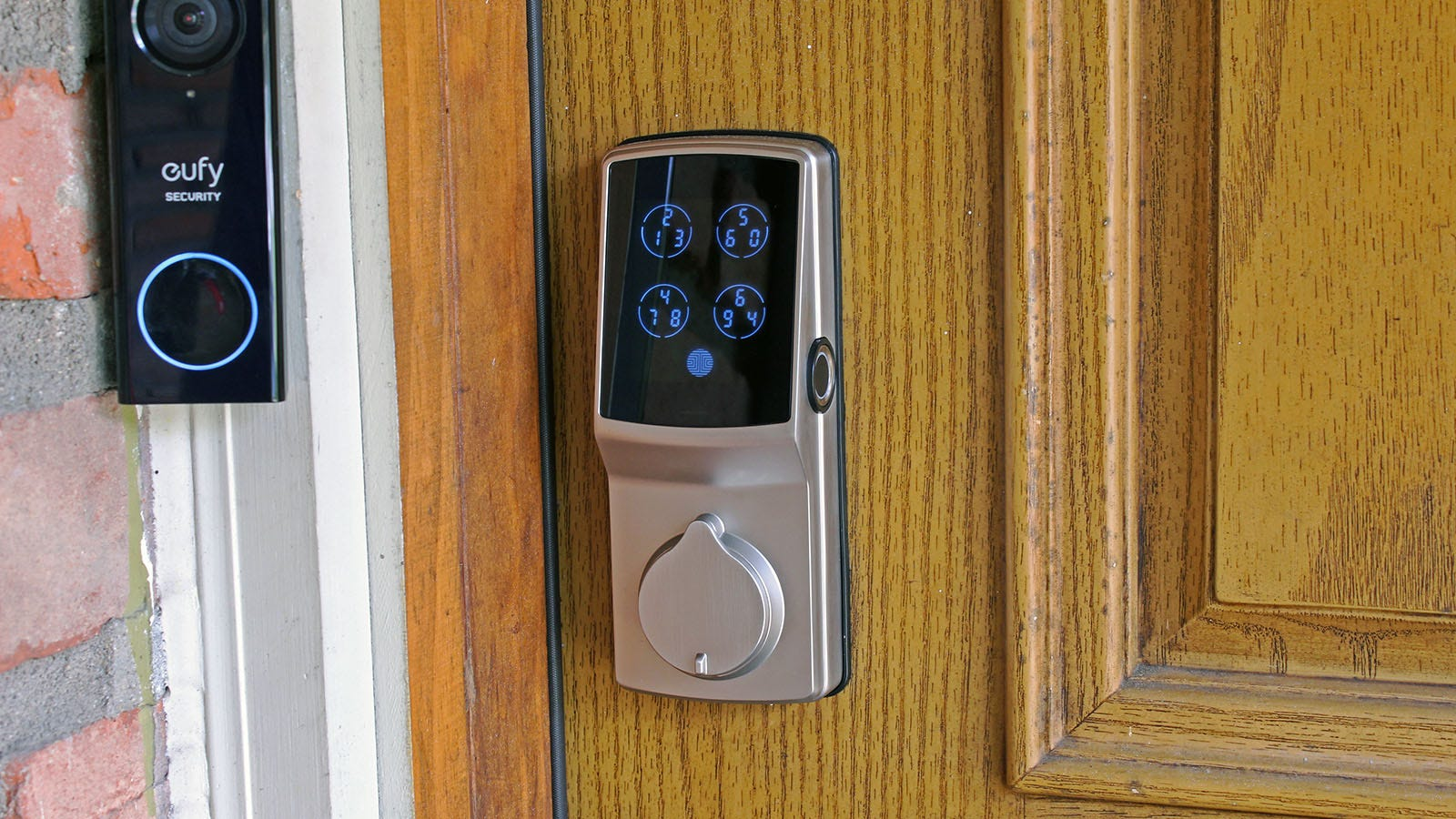 A Lockly Secure Pro with keypad activated.