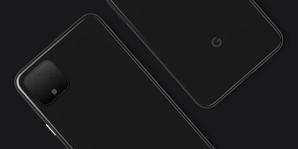 The Pixel 4 phone on a black background.