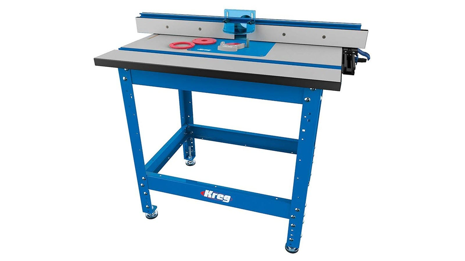A Kreg Router table, showing blue full sized legs and upgraded fence.