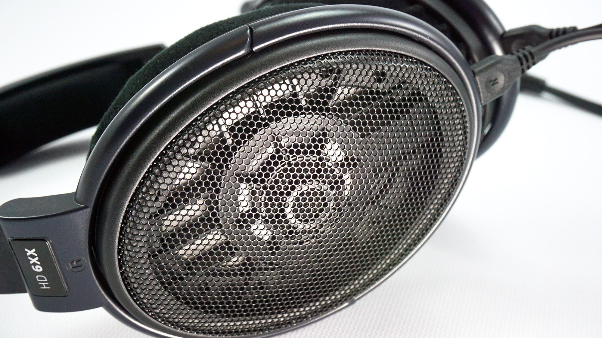 The open back casing on the HD 6XX headphones