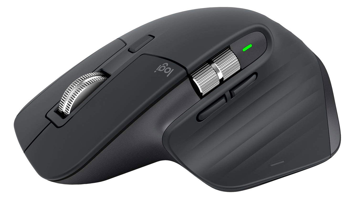 The Logitech MX Master 3 mouse, from the side.
