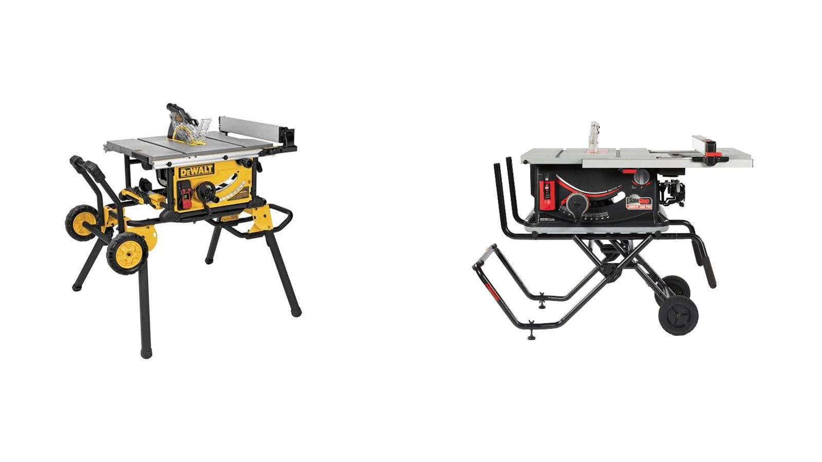 A DeWalt table saw and Saw Stop table saw side by side.