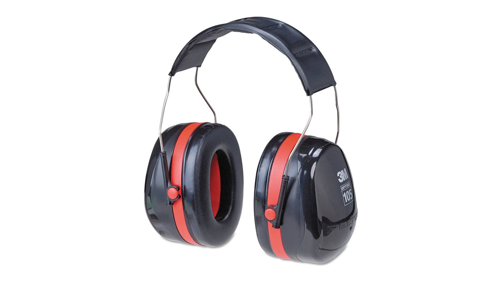 The 3M H10A Peltor Optime 105 Over-the-Head Earmuffs in red and black.