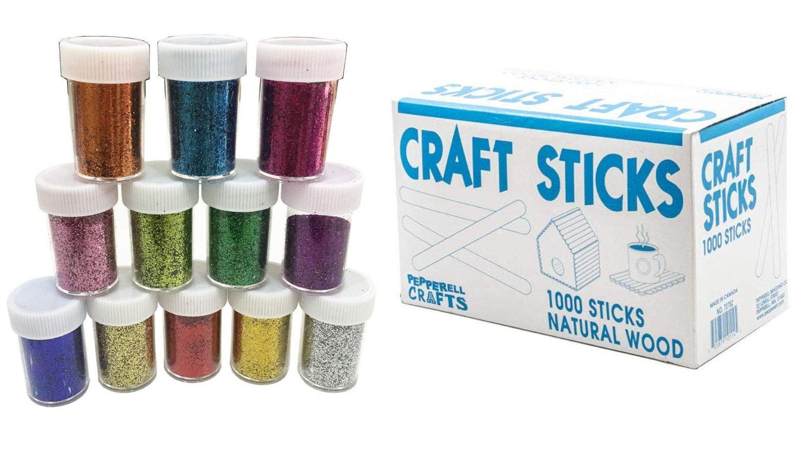 Slime Supplies Glitter Powder Sequins, Craft Wood Sticks