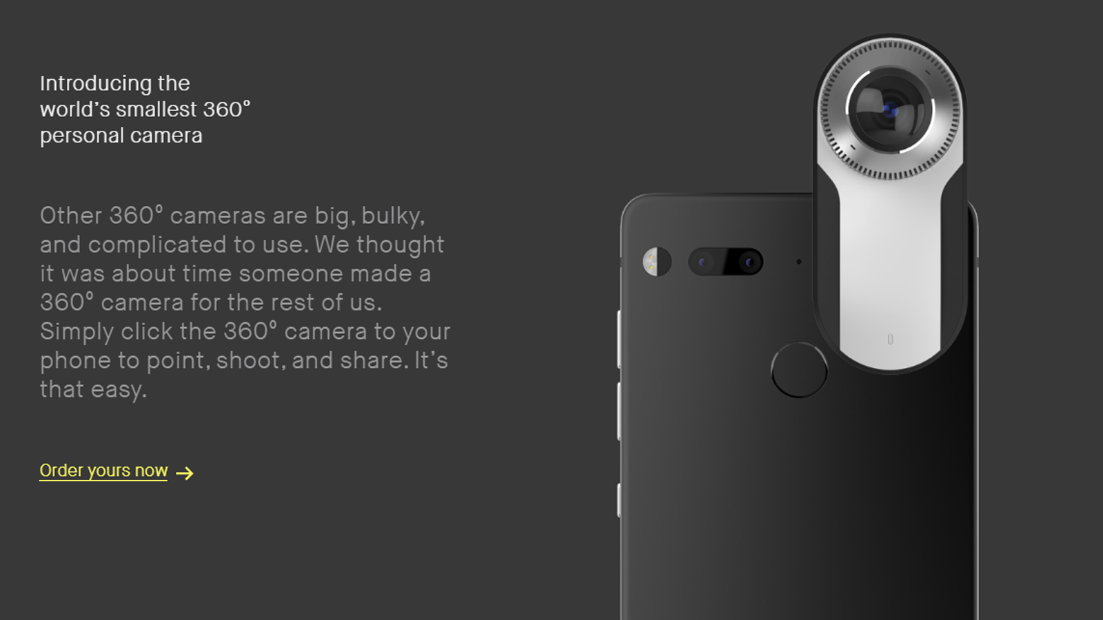 A screenshot of the Essential PH-1's camera attachment.
