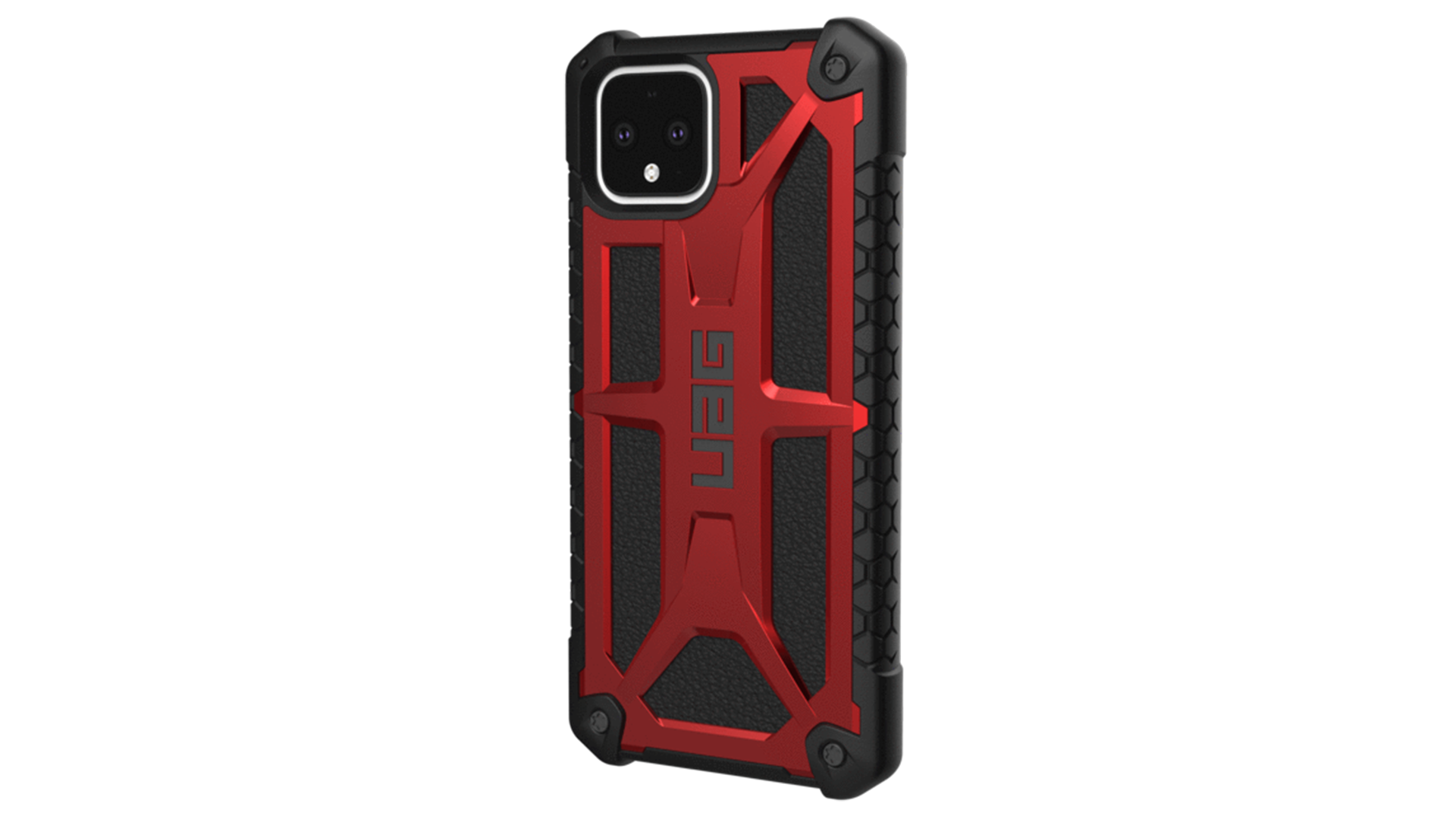 A Pixel 4 in a rugged UAG case.