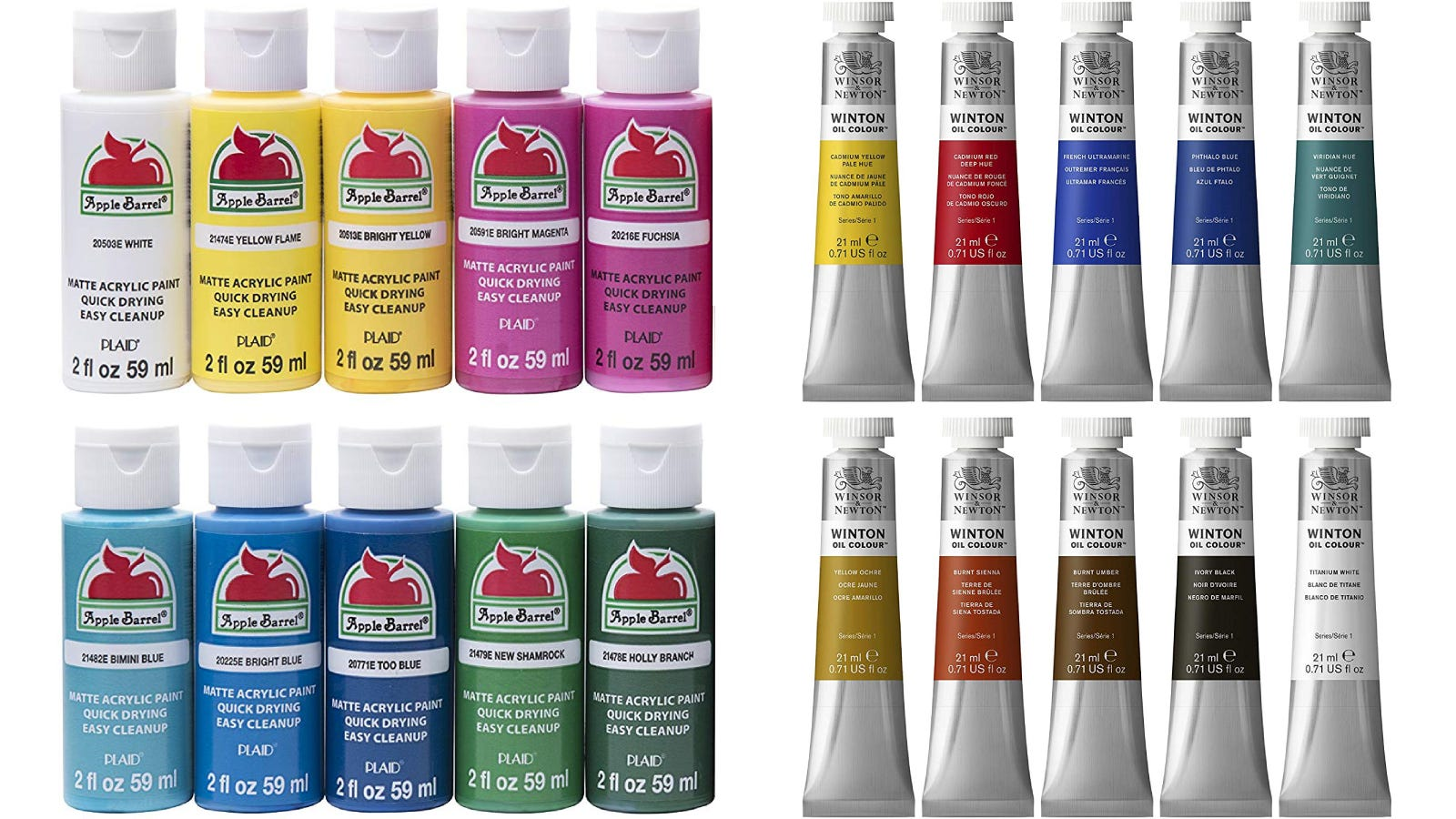 10 bottles of Apple Barrel acrylic paints in various colors, and 10 tubes of Winsor & Newton oil paints in various colors.